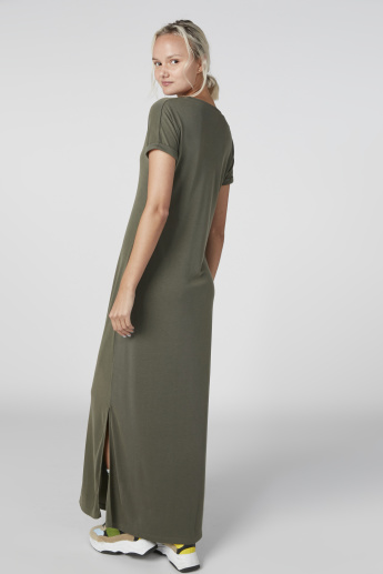 V-Neck Maxi Dress with Extended Sleeves and Side Slits