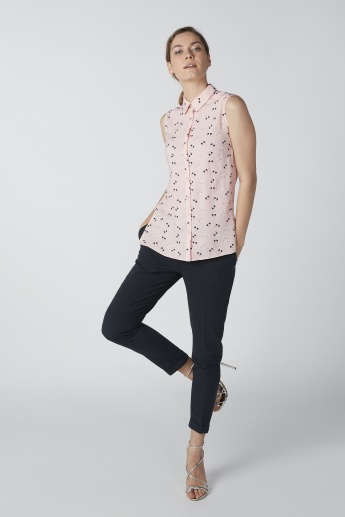 Sustainable Printed Sleeveless Asymmetric Shirt in Slim Fit