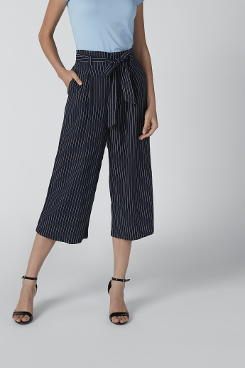 Wide Fit Striped Formal Culottes with Pocket Detail