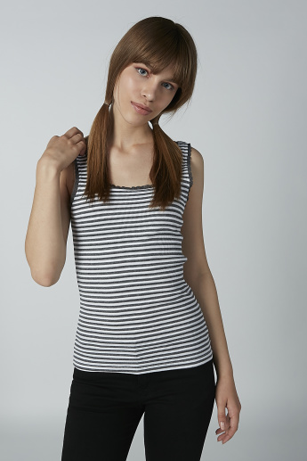 Striped Sleeveless Vest with Scoop Neck and Lace Detail