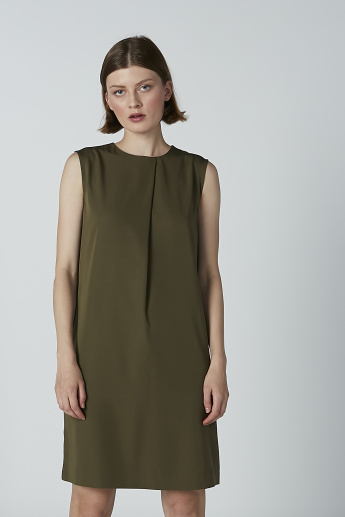 Solid Sleeveless Tunic with Round Neck and Pocket Detail