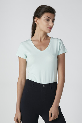 Solid T-Shirt with Cap Sleeves