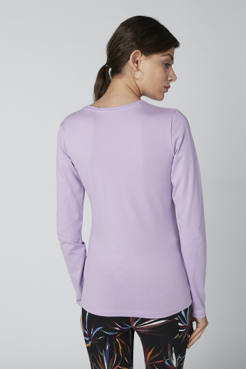 Basic T-shirt with Long Sleeves and Round Neck