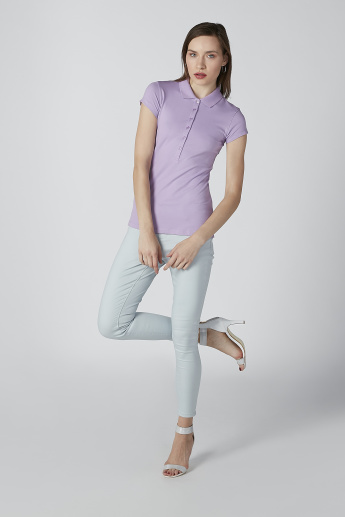 Solid T-shirt with Polo Neck and Cap Sleeves