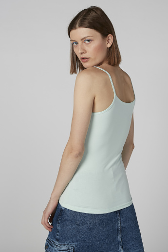 Solid Camisole with Straps and Scoop Neck