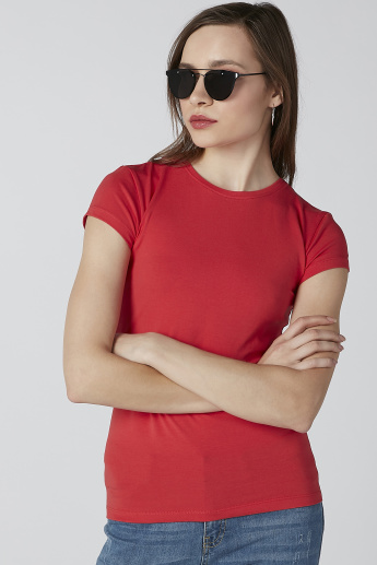Cap Sleeves Plain T-shirt with Round Neck