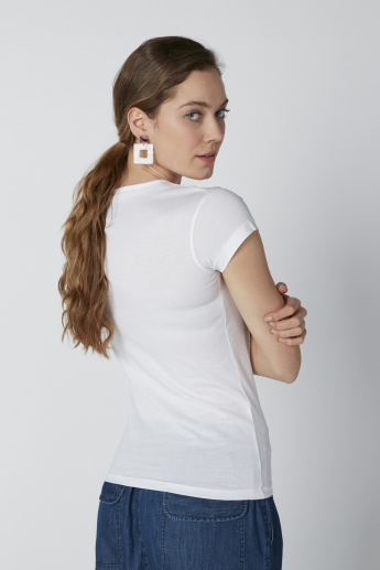 Sustainability Text Printed T-Shirt with Round Neck and Cap Sleeves