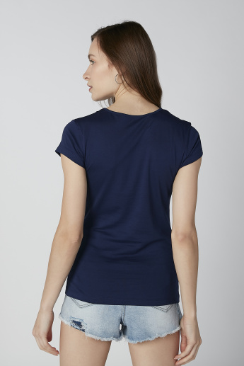 Text Printed T-shirt with Round Neck and Cap Sleeves