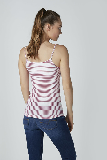 Striped Camisole with Scoop Neck and Spaghetti Straps