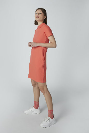 Plain Tunic with Short Sleeves and Pocket Detail