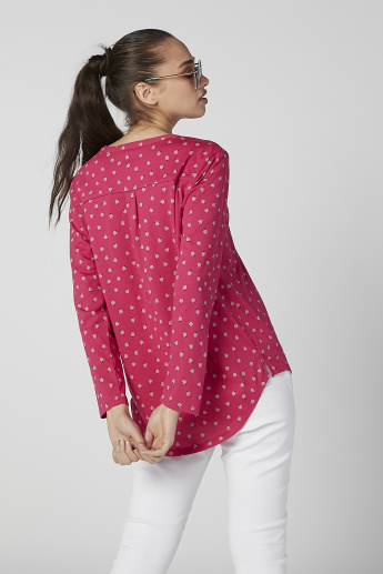Sustainability Slim Fit Printed Top with V-neck and Long Sleeves