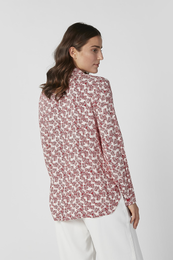 Sustainable Printed Shirt with Long Sleeves and Notched Lapel