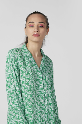 Sustainability Printed Shirt with Long Sleeves and Notched Lapel