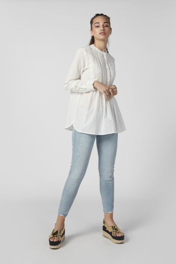 Sustainability Textured Top with Mandarin Collar and Long Sleeves