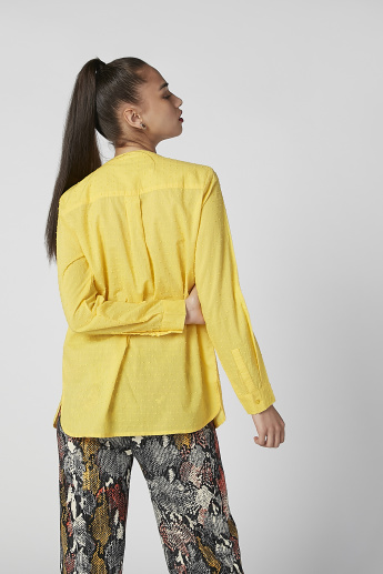 Sustainable Textured Top with Mandarin Collar and Long Sleeves