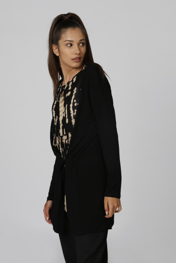 Sustainable Plain Cardigan with Long Sleeves and Tie Ups