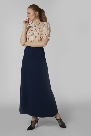 Plain A-Line Maxi Skirt with Elasticised Waistband