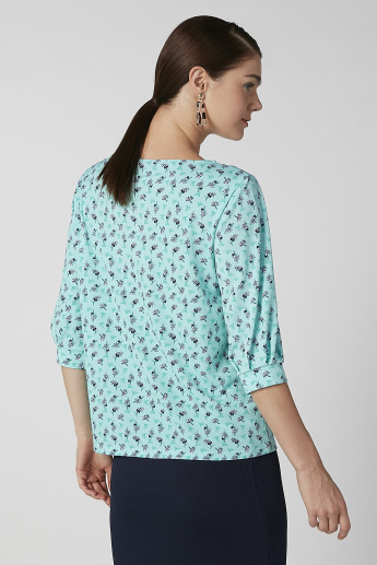Slim Fit Printed Top with Boat Neck and 3/4 Sleeves