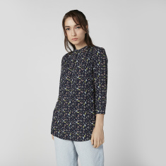 Printed Top with Mandarin Collar and Long Sleeves