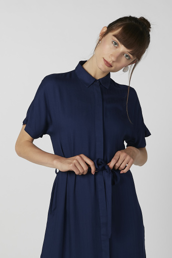Sustainability Plain Mini Shirt Dress with Spread Collar and Tie Ups