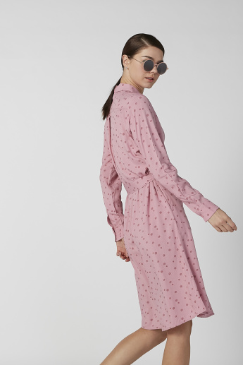Sustainable Printed Shirt Dress with Long Sleeves and Tie Ups