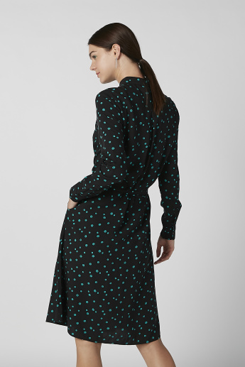 Sustainability Printed Shirt Dress with Long Sleeves and Tie Ups