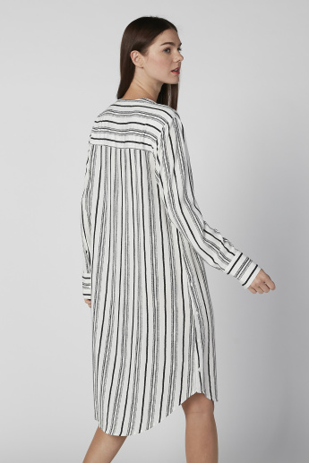Striped Midi Shirt Dress with Long Sleeves and Complete Placket