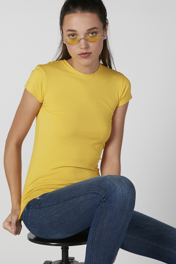 Plain T-shirt with Crew Neck and Cap Sleeves