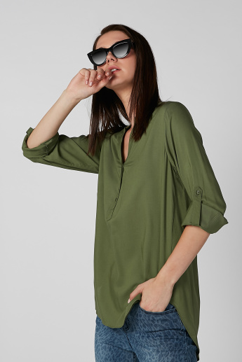 Plain Longline Shirt with Mandarin Collar and Long Sleeves