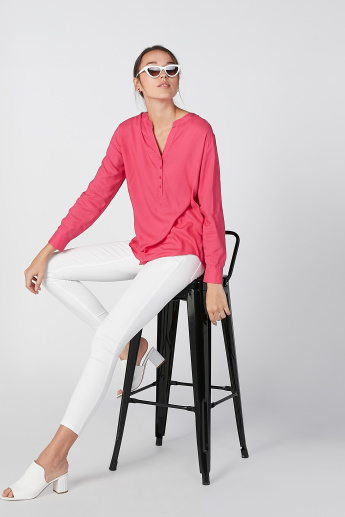 Plain Top with Half Placket and Long Sleeves