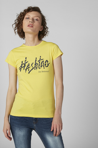 Sustainable Slogan Print Round Neck Top with Cap Sleeves