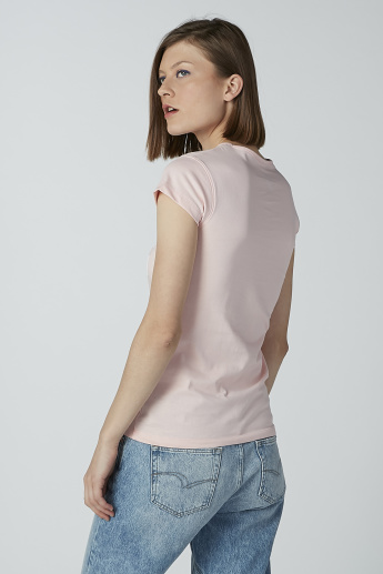 Printed Slim-Fit T-shirt with Cap Sleeves and Round Neck