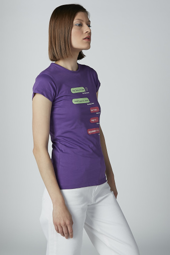 Sustainability Slim Fit Printed T-shirt with Round Neck