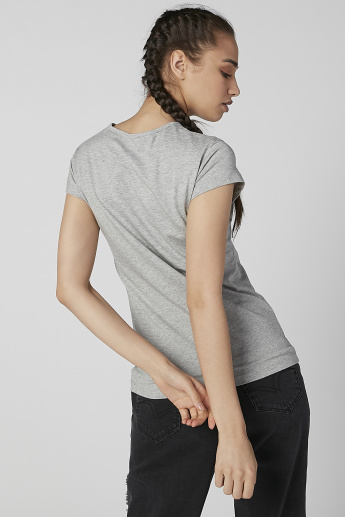 Sustainable Slim Fit Printed Round Neck T-shirt with Cap Sleeves