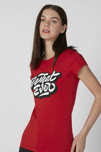 Slim Fit Printed T-shirt with Round Neck and Cap Sleeves