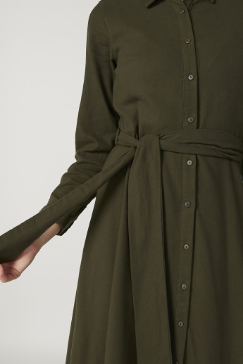 Sustainability Plain Maxi A-line Shirt Dress with Long Sleeves