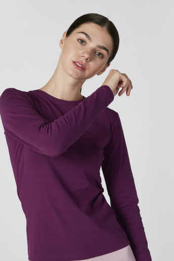 Plain T-shirt with Round Neck and Long Sleeves