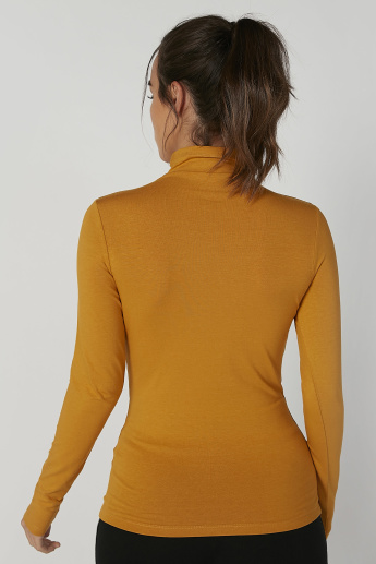 Plain Top with Turtle Neck and Long Sleeves