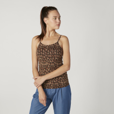 Printed Camisole with Scoop Neck and Spaghetti Straps