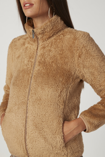 Textured Fleece Jacket with Long Sleeves and Kangaroo Pockets