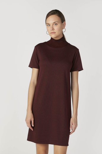 Textured Mini Shift Dress with High Neck and Short Sleeves