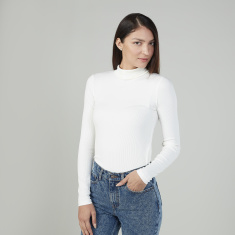 Slim Fit Textured Top with Turtleneck and Long Sleeves