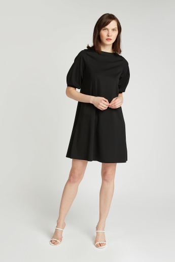 Solid Mini Dress with Boat Neck and Short Sleeves