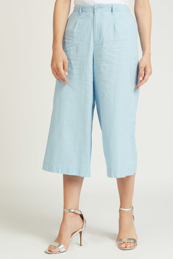 Slim Fit Solid Culottes with Pocket Detail and Belt Loops