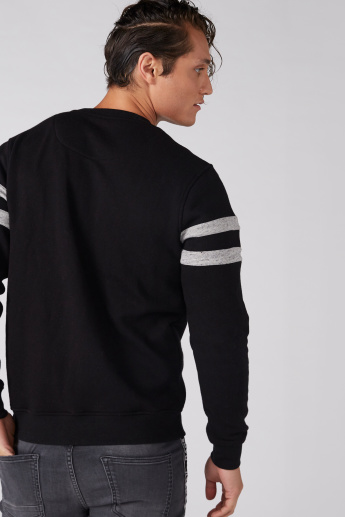 Crew Neck Long Sleeves Sweatshirt with Cut and Sew Detail