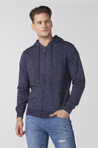 Textured Long Sleeves Jacket with Hood and Zip Closure
