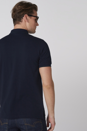 Cut and Sew T-Shirt with Polo Neck and Short Sleeves
