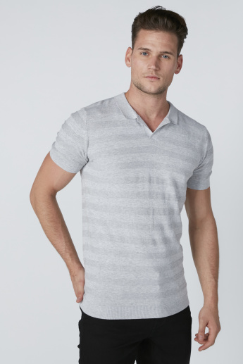 Collared T-Shirt with Stripes and Short Sleeves