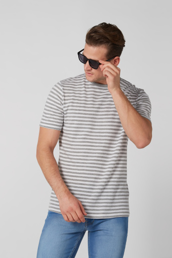 Striped T-Shirt with Crew Neck and Short Sleeves