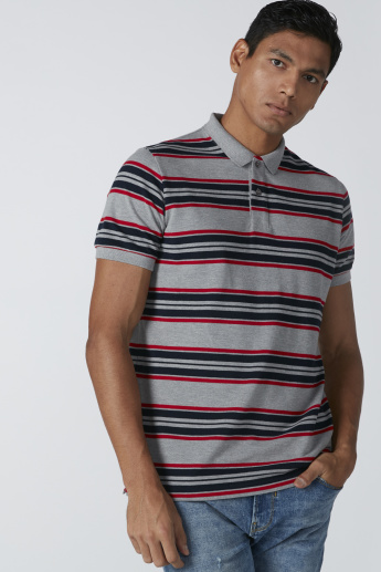 Short Sleeves T-Shirt with Polo Neck and Stripes